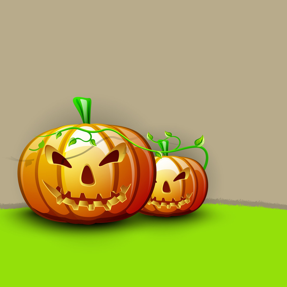 Banner Or Background For Halloween Party Night With Angry Pumpkin On Brown And Green Background.