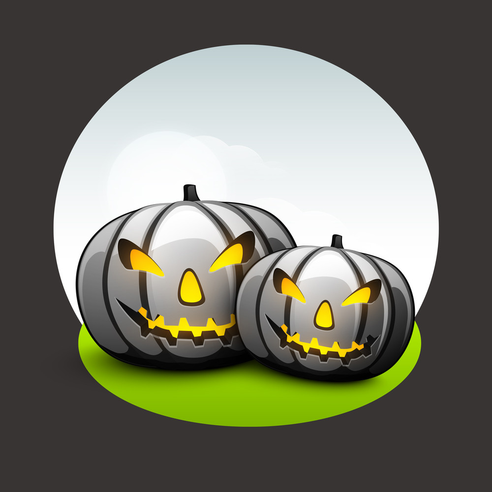 Banner Or Background For Halloween Party Night With Angry Pumpkins On Grey Background.