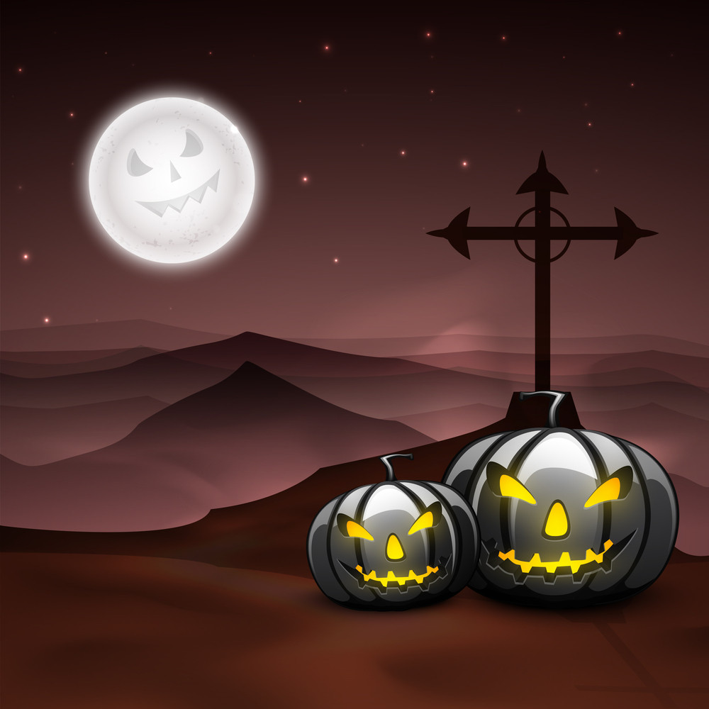 Banner Or Background For Halloween Party Night With Angry Pumpkins On Scary Night Background.