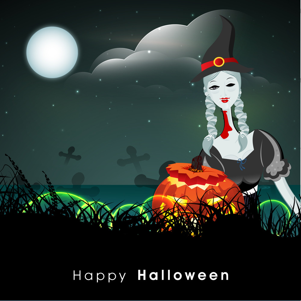 Banner Or Background For Halloween Party Night With Beautiful Witch On Blue Background.