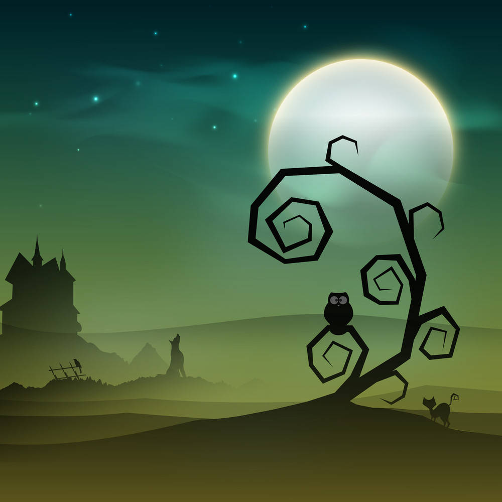 Banner Or Background For Halloween Party Night With Deadtree.