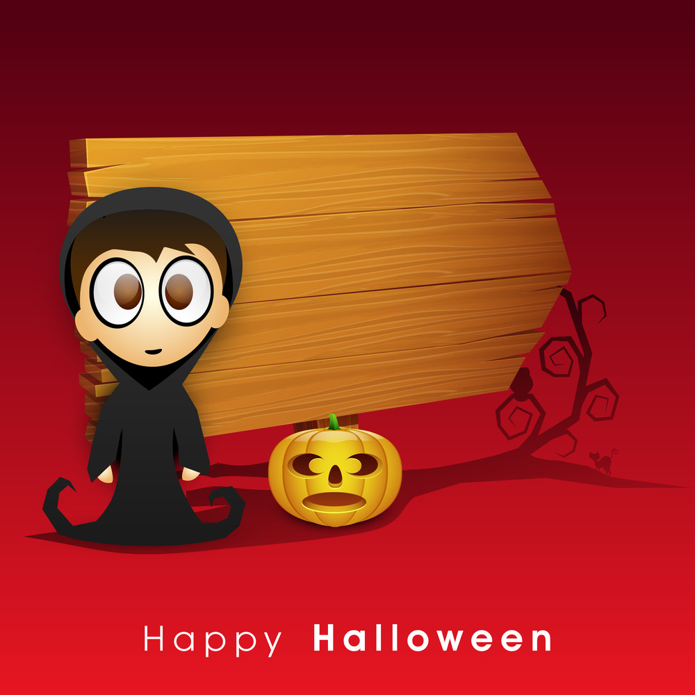Banner Or Background For Halloween Party Night With Ghost And Pumpkin And Space For Your Text.