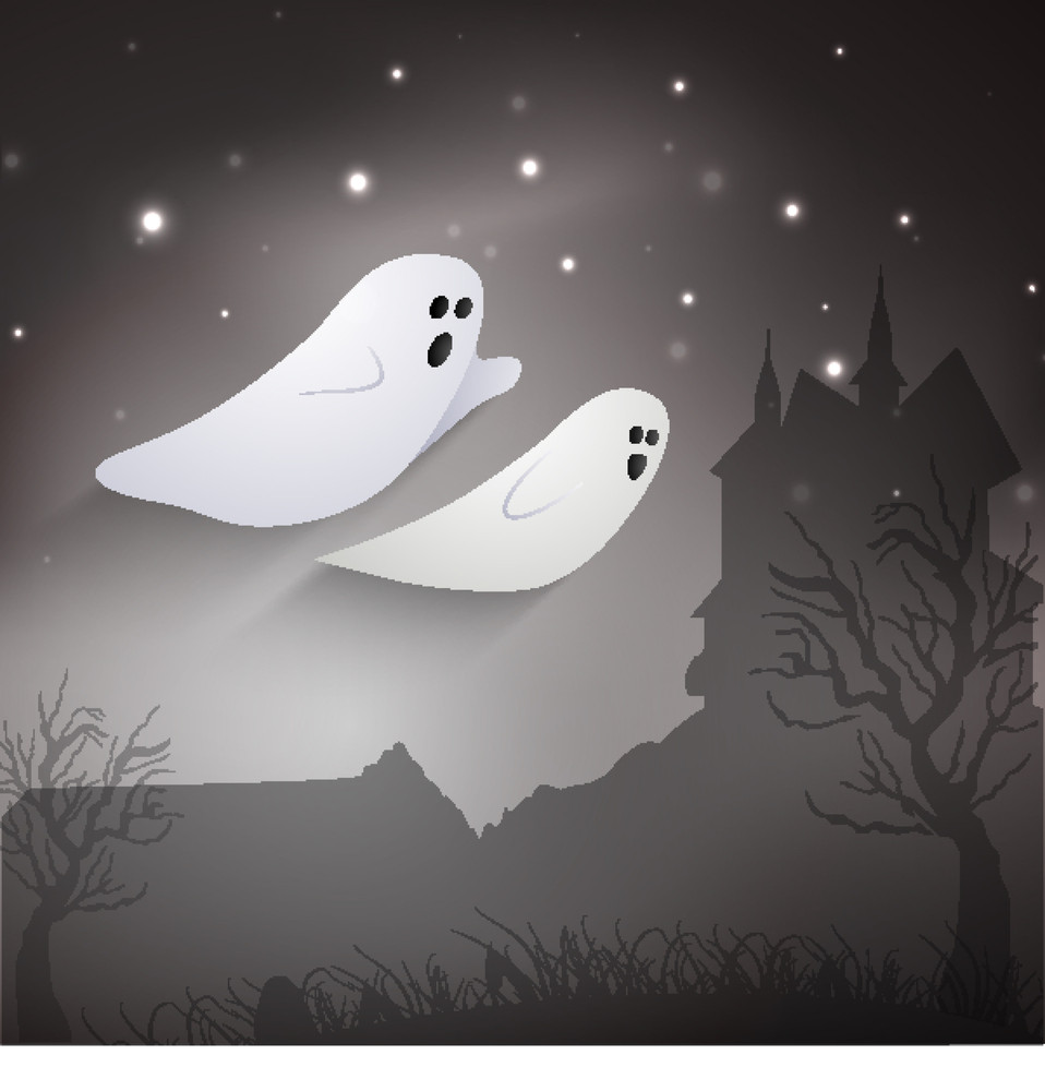 Banner Or Background For Halloween Party Night With Ghost On Night Background.