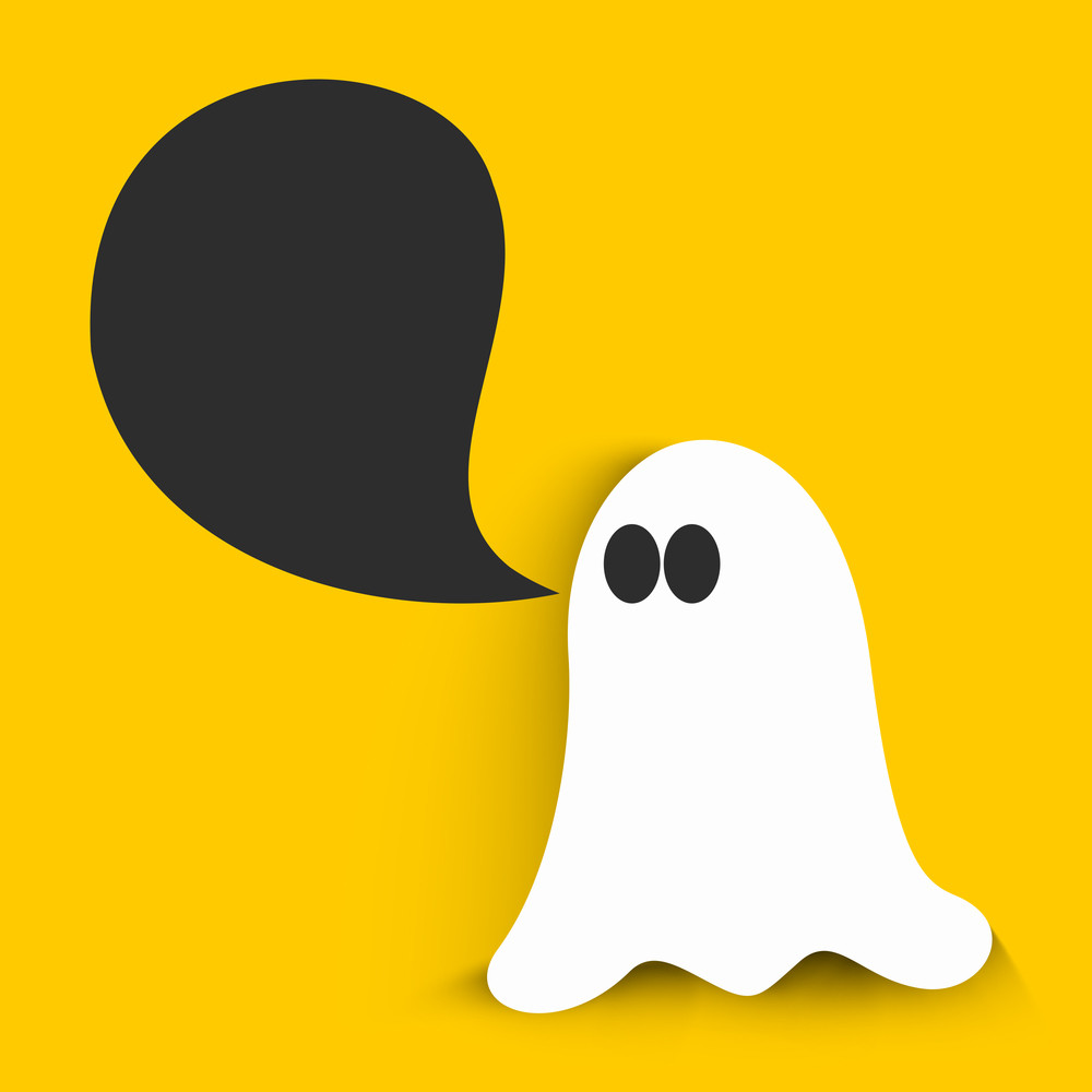 Banner Or Background For Halloween Party Night With Ghost On Yellow Background.