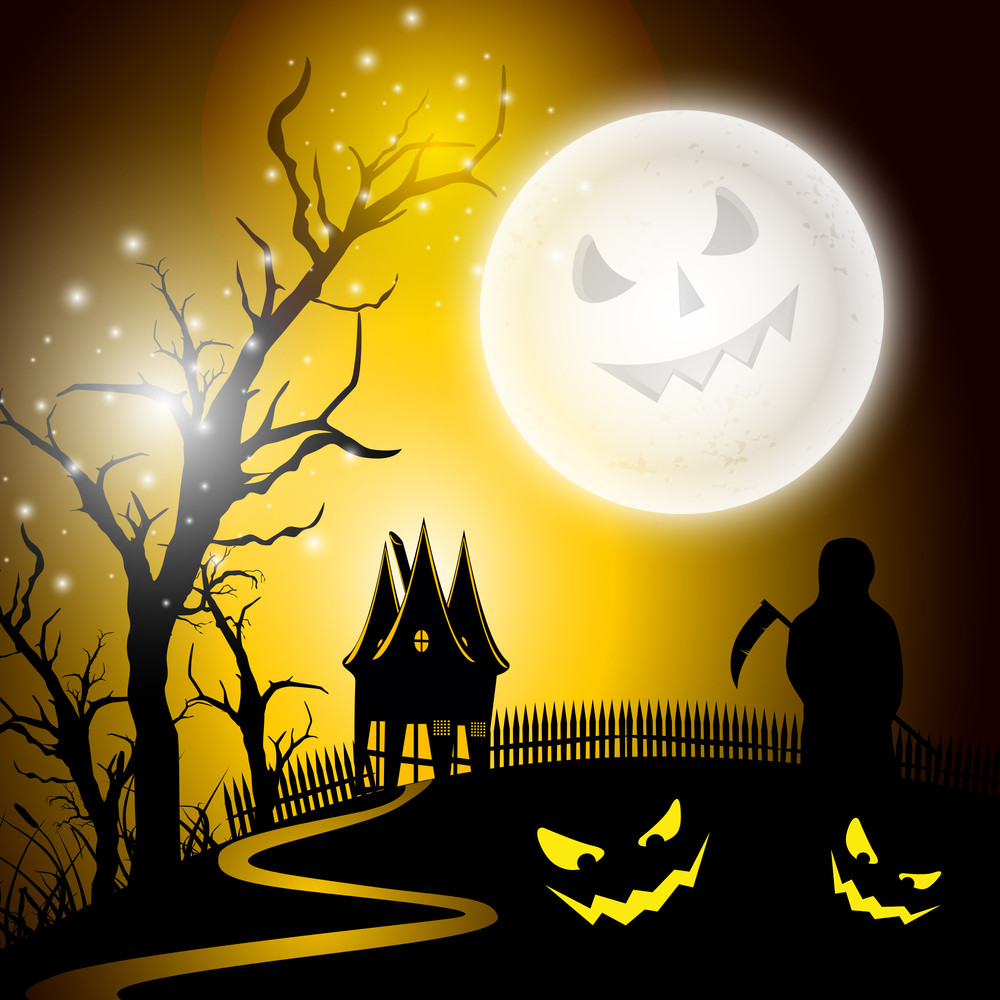 Banner Or Background For Halloween Party Night With Ghost