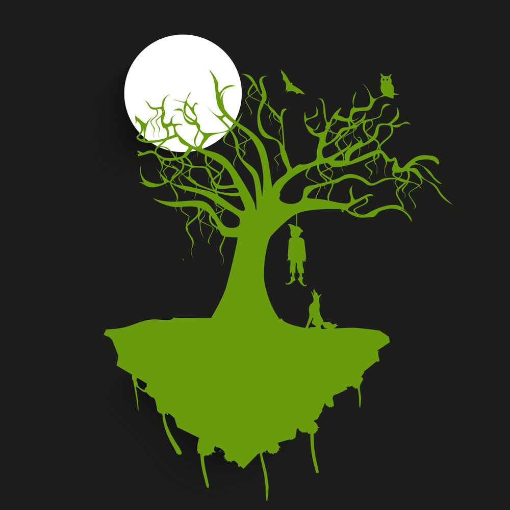 Banner Or Background For Halloween Party Night With Green Silhouette Of A Hanging Deadbody From A Tree On Grey Background.