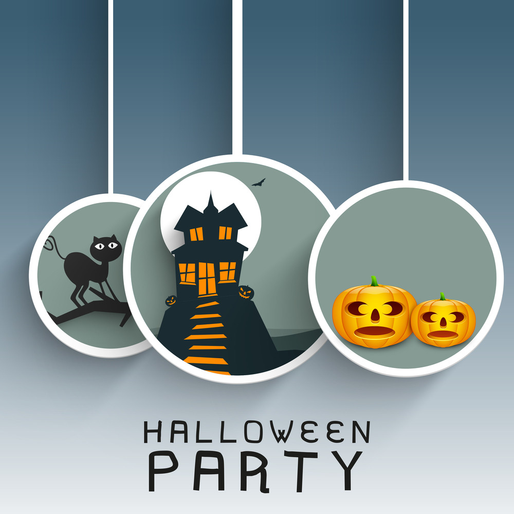 Banner Or Background For Halloween Party Night With Hanging Sticker