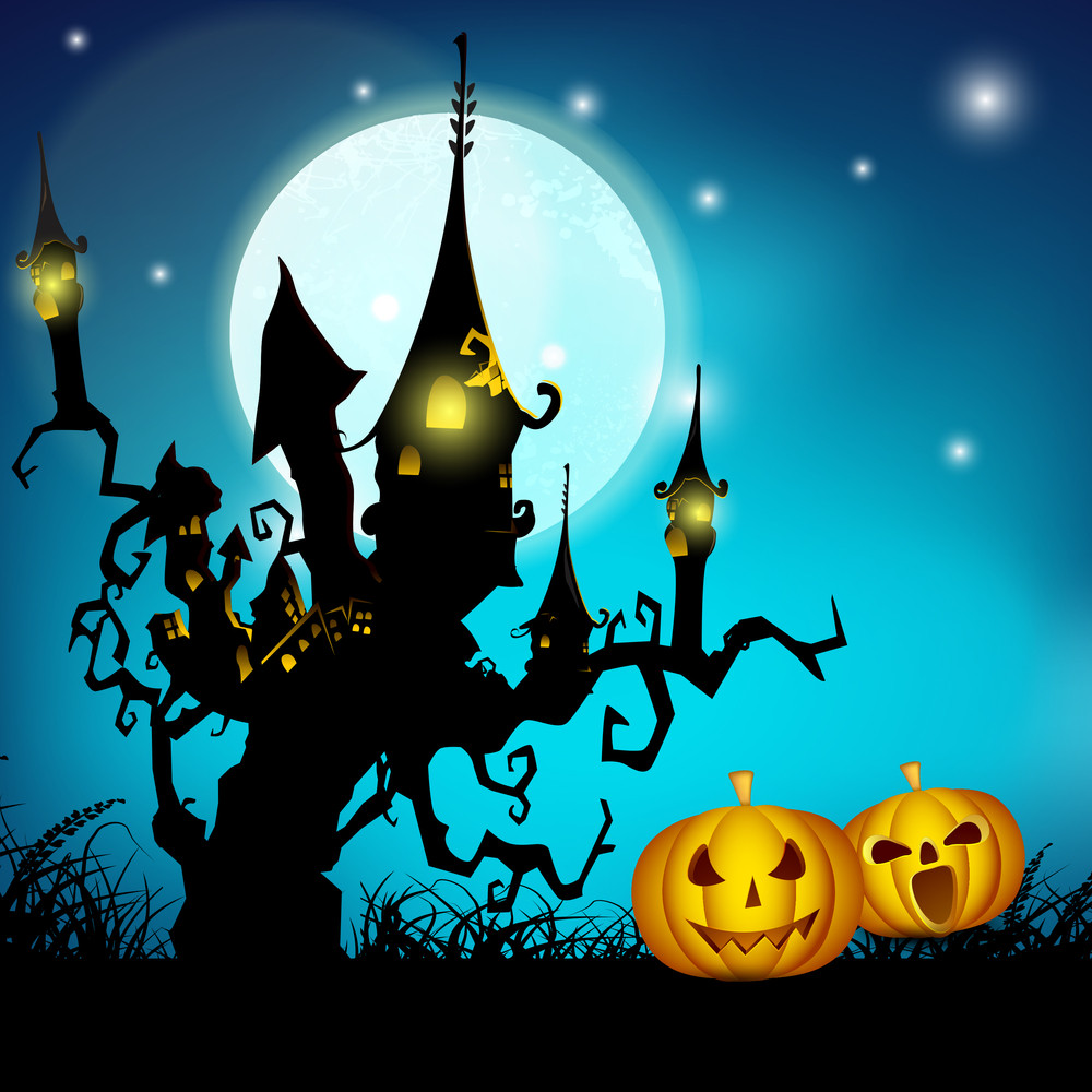 Banner Or Background For Halloween Party Night With Haunted House And Pumpkins On Blue.