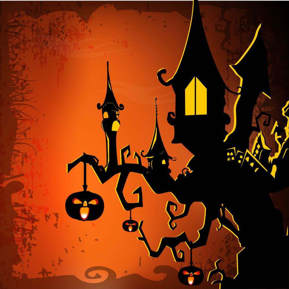 Banner Or Background For Halloween Party Night With Haunted House On A Tree And Pumpkins.