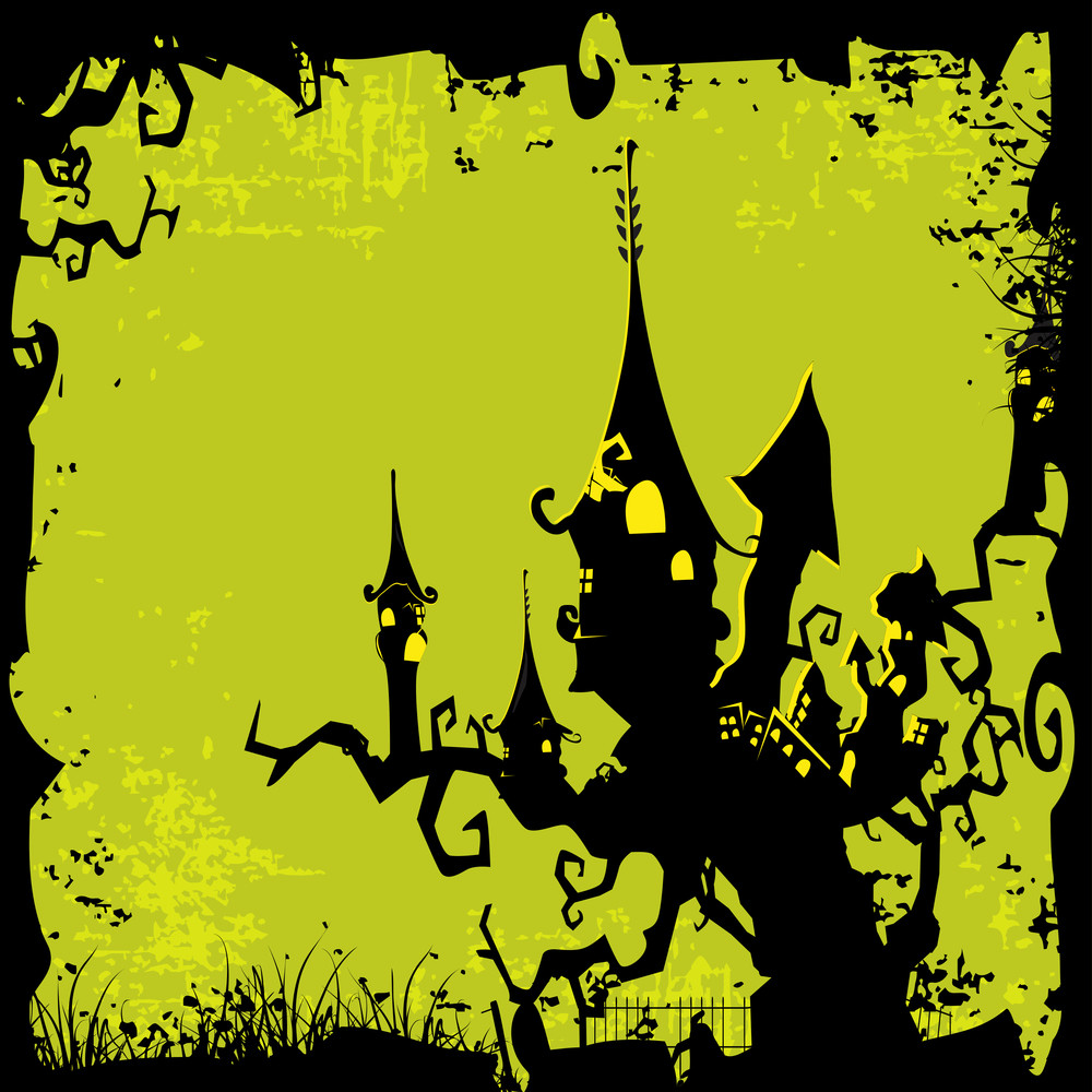 Banner Or Background For Halloween Party Night With Haunted House On Green Grungy Background.