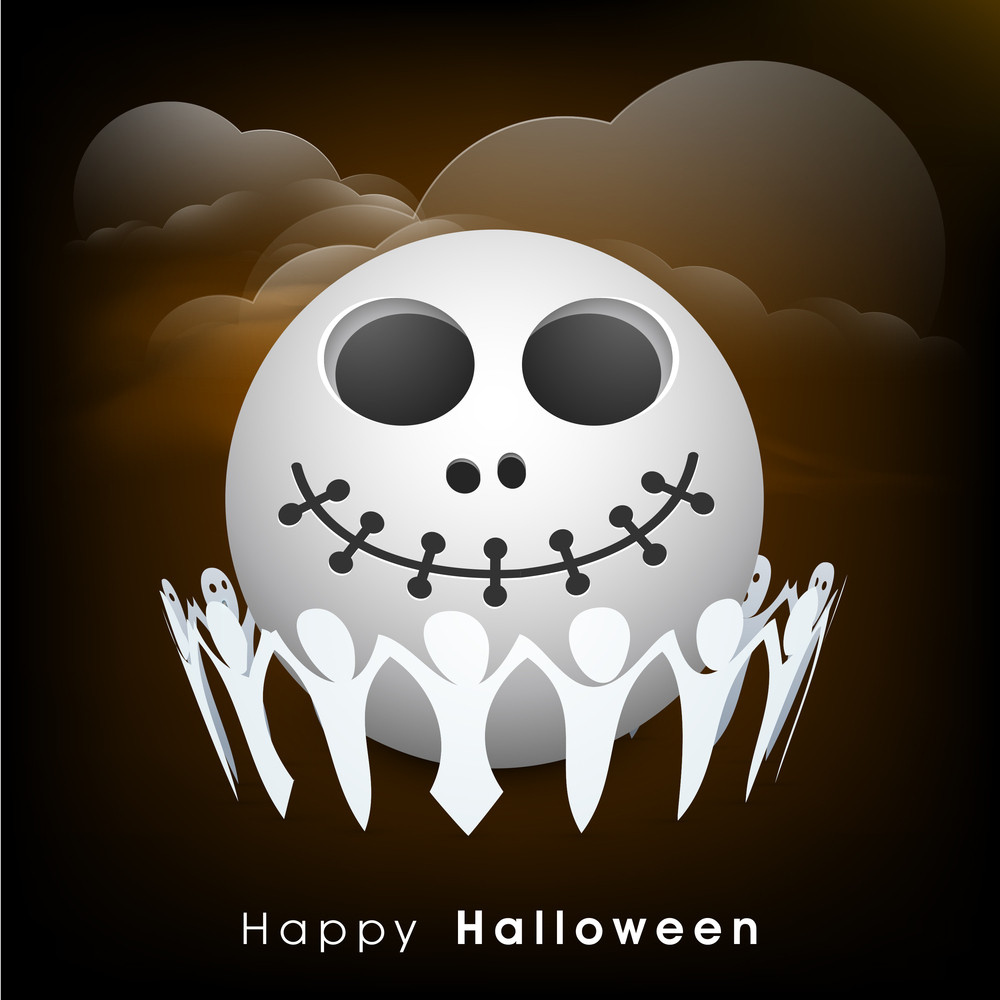 Banner Or Background For Halloween Party Night With Human Skull And Ghost Enjoying Party.