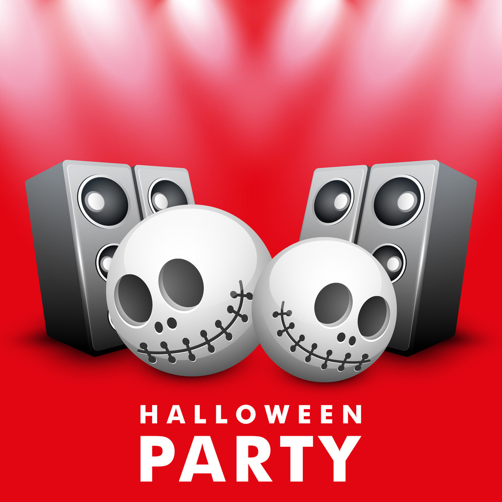 Banner Or Background For Halloween Party Night With Human Skull And Loudspeaker On Red.