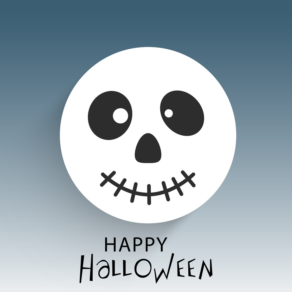 Banner Or Background For Halloween Party Night With Human Skull On Blue Background.