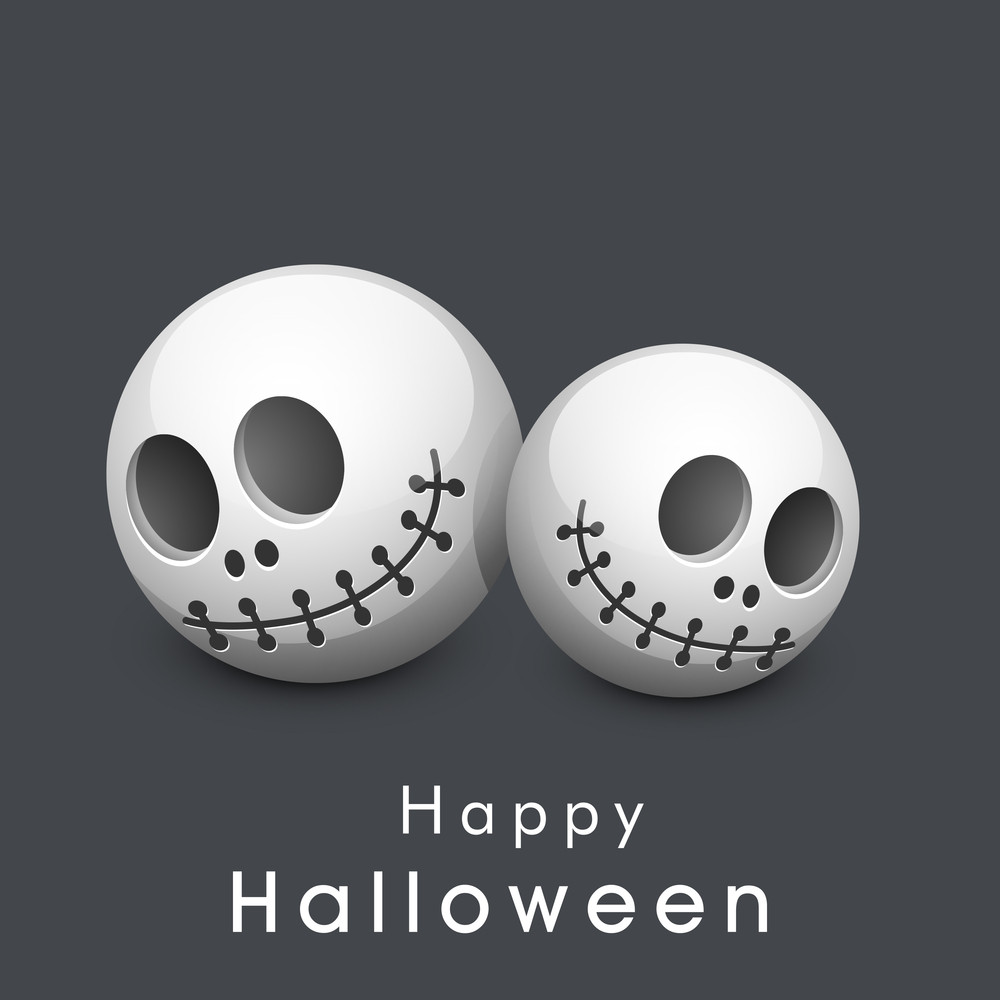 Banner Or Background For Halloween Party Night With Human Skull On Grey Background.