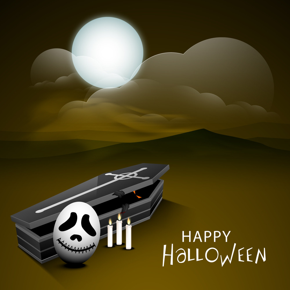 Banner Or Background For Halloween Party Night With Human Skull