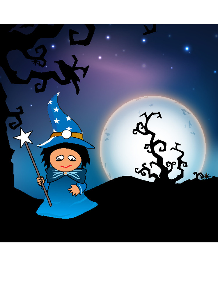 Banner Or Background For Halloween Party Night With Little Witch On Night Background.