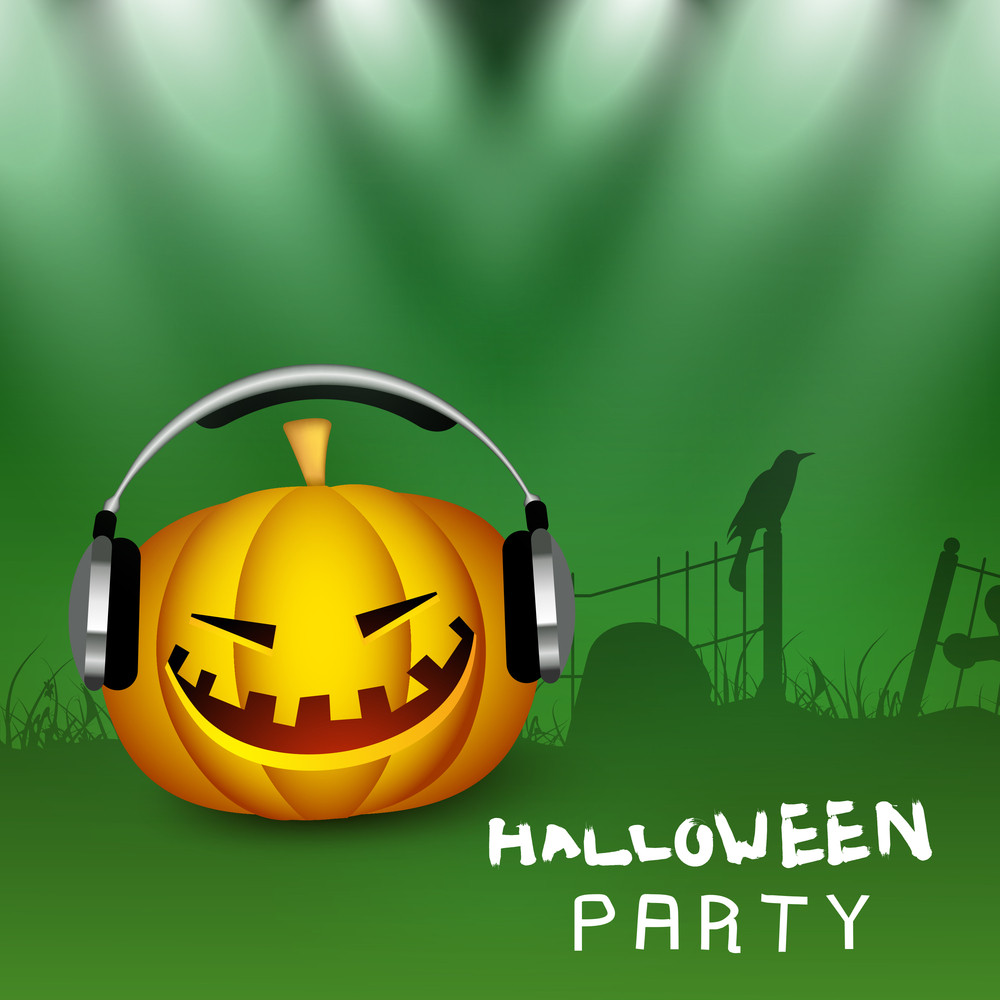 Banner Or Background For Halloween Party Night With Pumpkin Listing Song With Headphone.