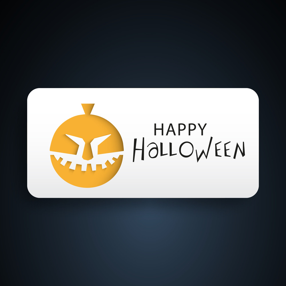 Banner Or Background For Halloween Party Night With Pumpkin On Blue.