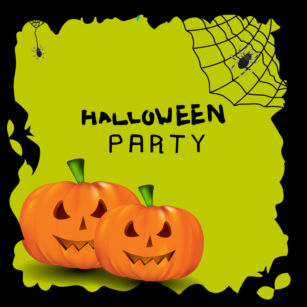 Banner Or Background For Halloween Party Night With Pumpkin On Green Background.