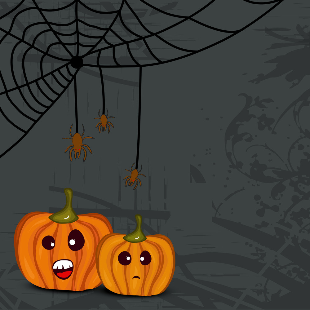 Banner Or Background For Halloween Party Night With Pumpkin On Grungy Grey Background.