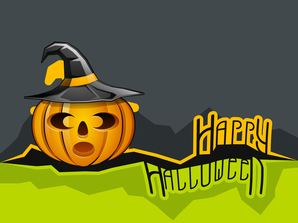 Banner Or Background For Halloween Party Night With Pumpkin Wearing Witch Hat On Green And Grey Background.