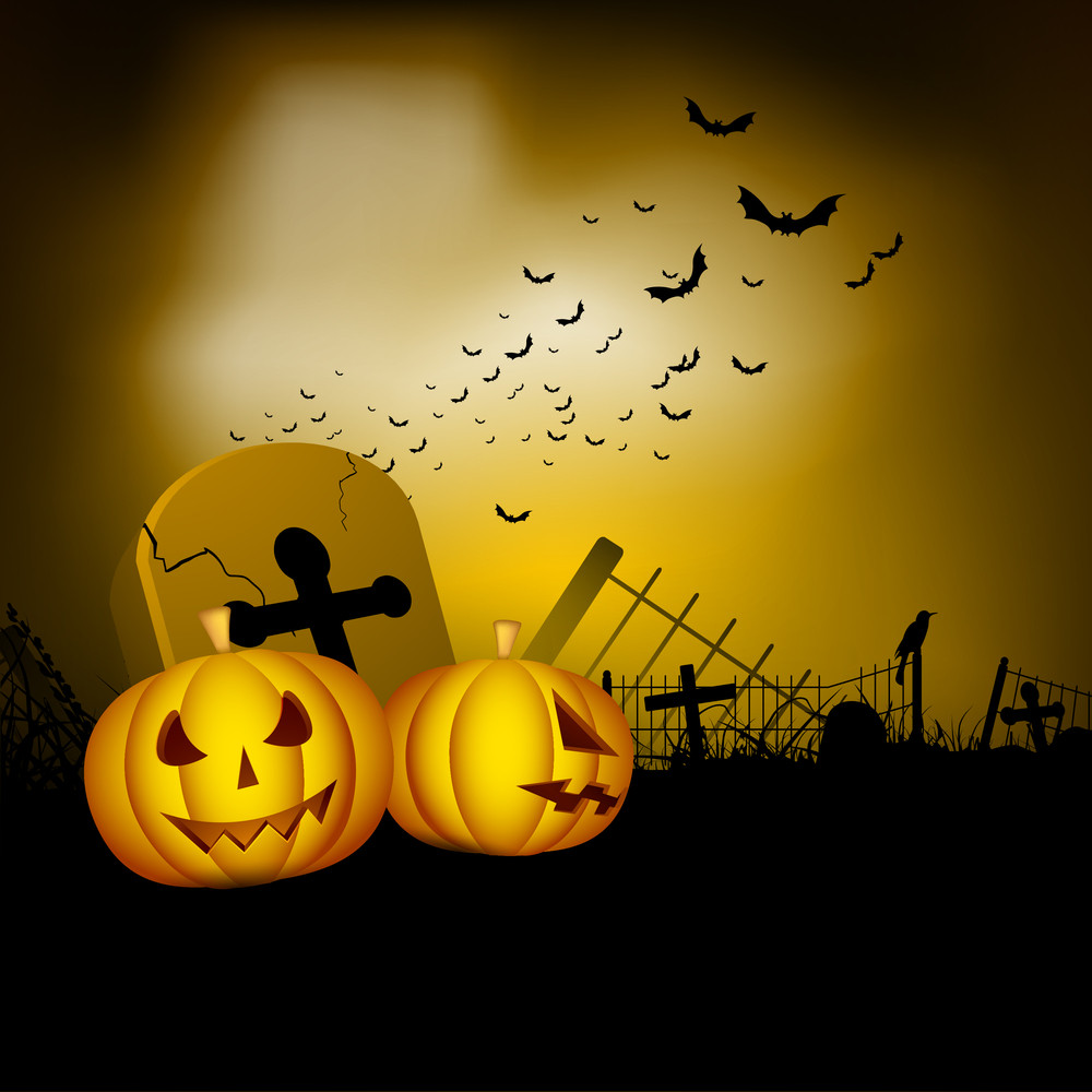 Banner Or Background For Halloween Party Night With Pumpkins And Grave Stone.
