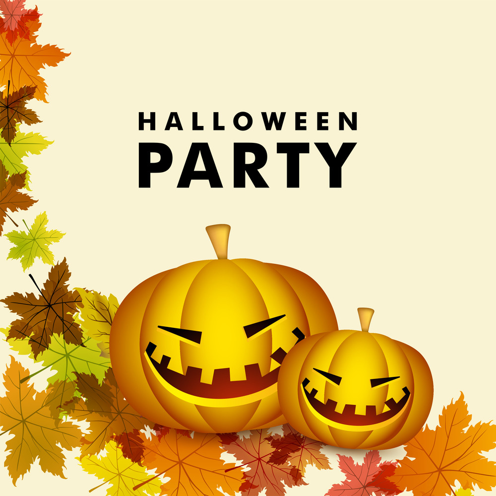 Banner Or Background For Halloween Party Night With Pumpkins On Autumn Decorated Background.