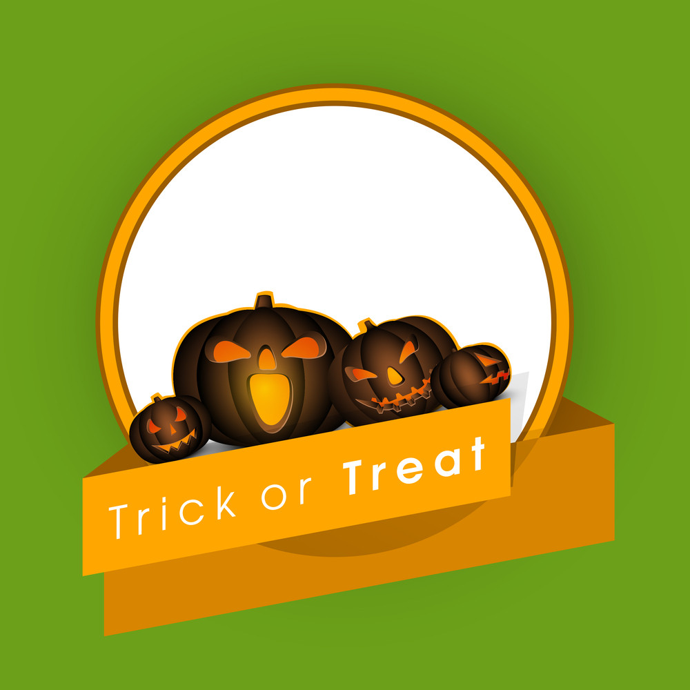 Banner Or Background For Halloween Party Night With Pumpkins On Green And Orange.