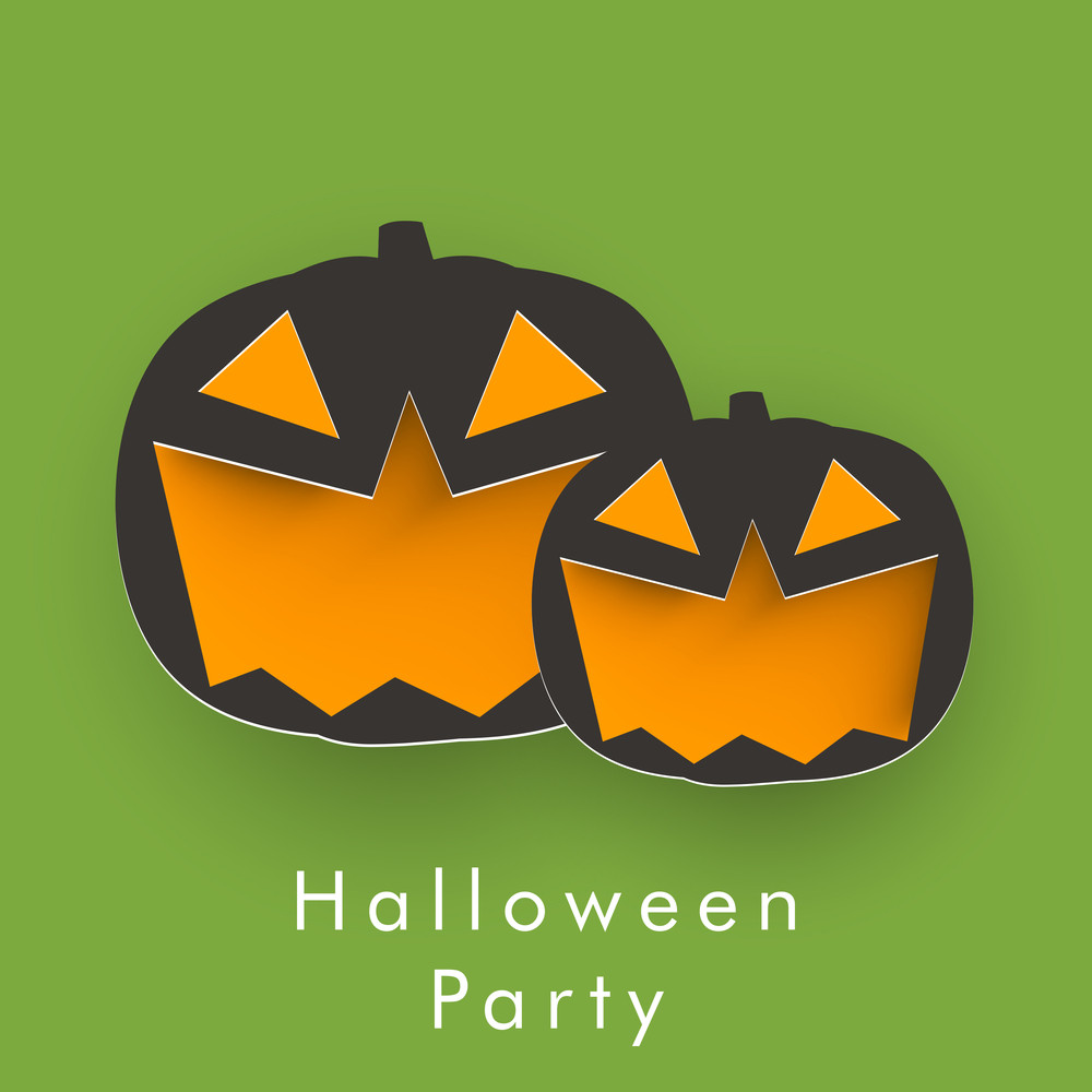 Banner Or Background For Halloween Party Night With Pumpkins On Green.