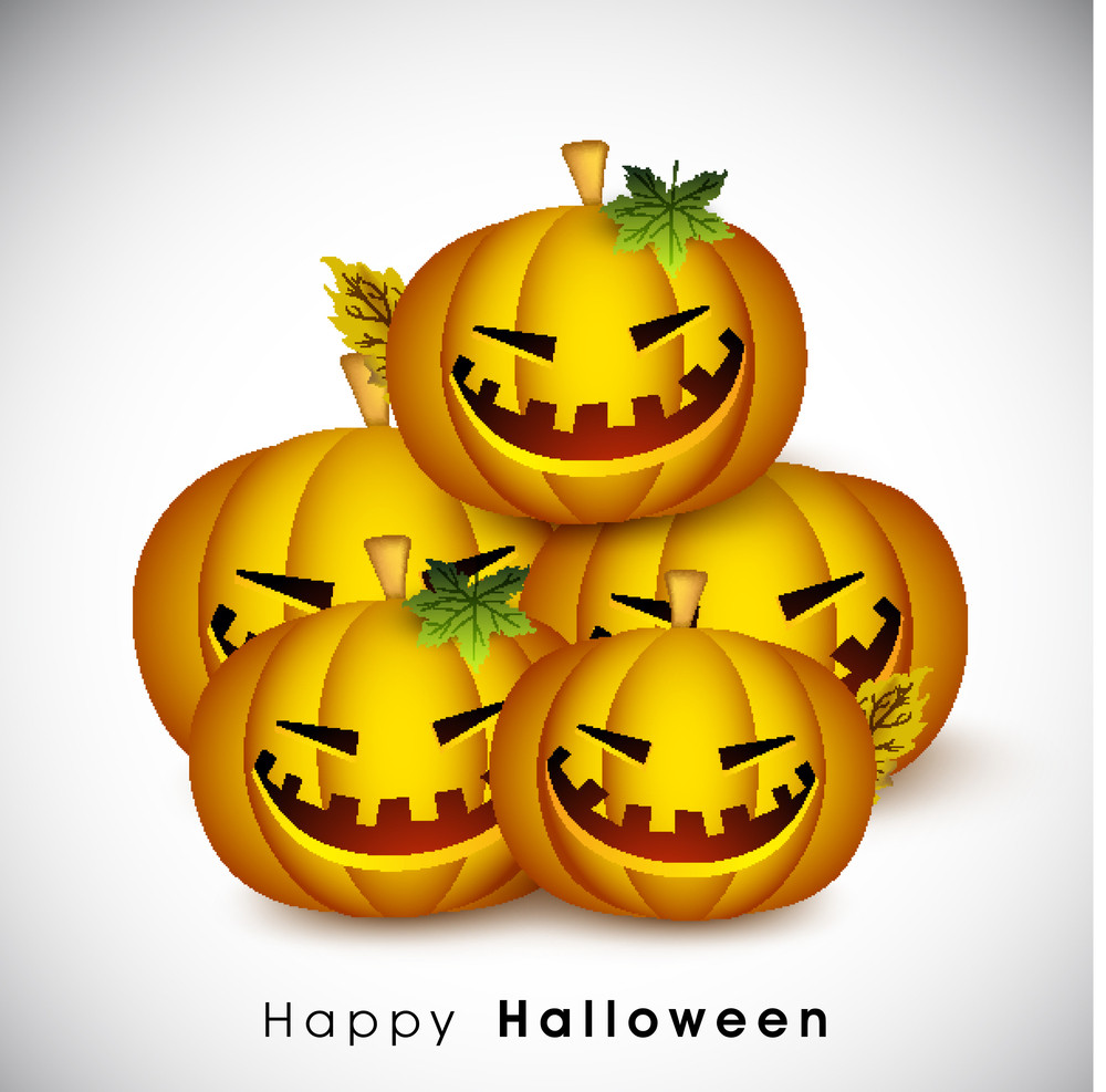 Banner Or Background For Halloween Party Night With Pumpkins On Grey Background.