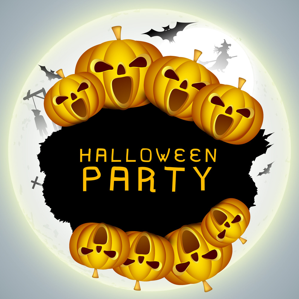 Banner Or Background For Halloween Party Night With Pumpkins On Grey Color.
