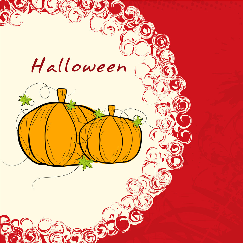 Banner Or Background For Halloween Party Night With Pumpkins