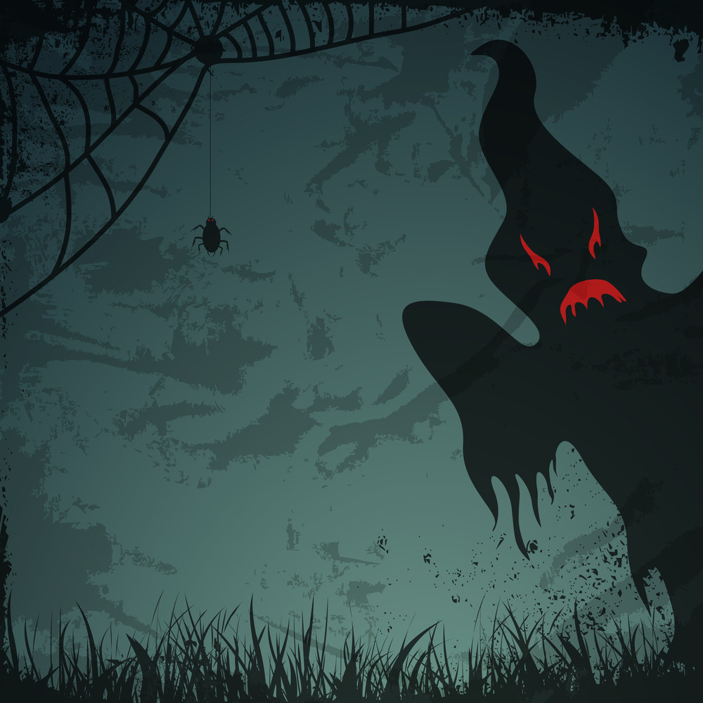 Banner Or Background For Halloween Party Night With Scary Ghost.