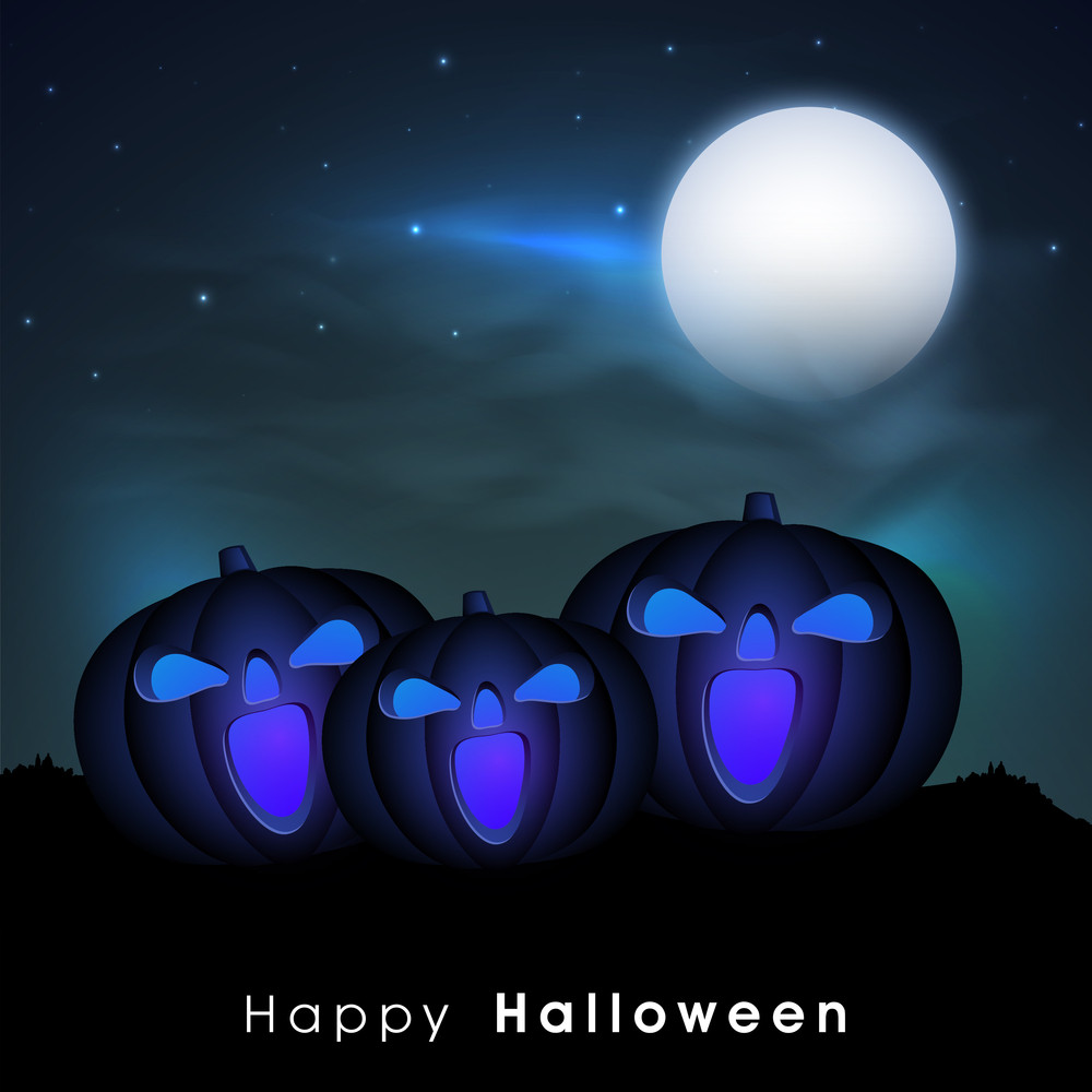 Banner Or Background For Halloween Party Night With Scary Halloweens In The Night.