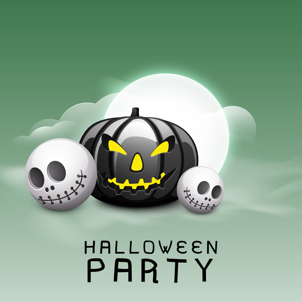 Banner Or Background For Halloween Party Night With Scary Pumpkin And Human Skull On Green Background.