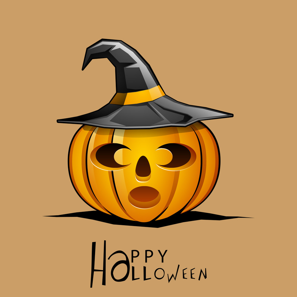 Banner Or Background For Halloween Party Night With Scary Pumpkin And Witch Hat On Orange Background.