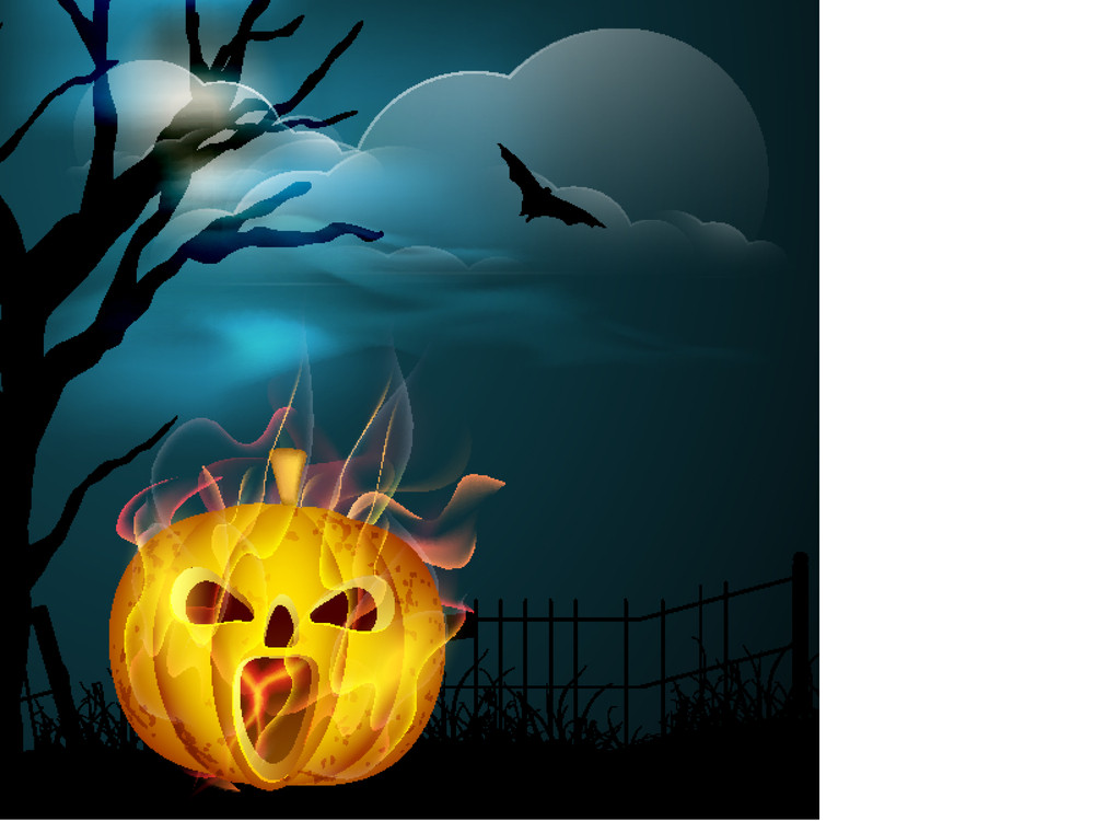 Banner Or Background For Halloween Party Night With Scary Pumpkin In Flame On Night Background.