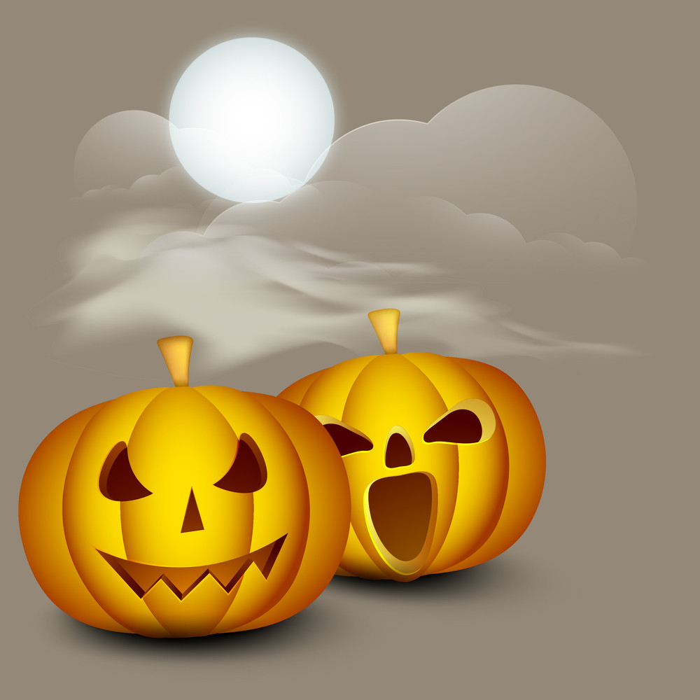 Banner Or Background For Halloween Party Night With Scary Pumpkin On Brown Background.