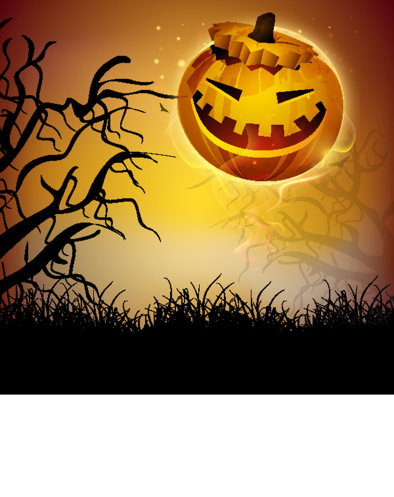 Banner Or Background For Halloween Party Night With Scary Pumpkin On Night Background.