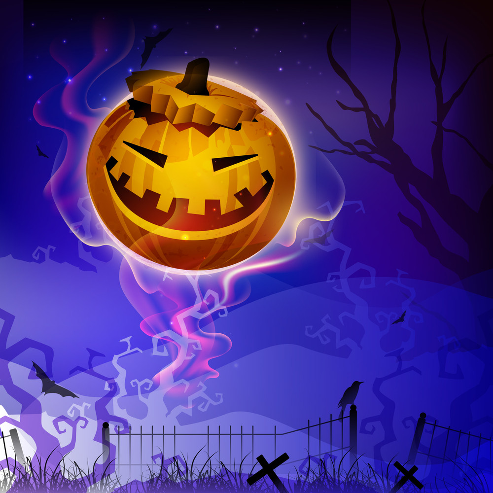 Banner Or Background For Halloween Party Night With Scary Pumpkin On Shiny Blue Background.