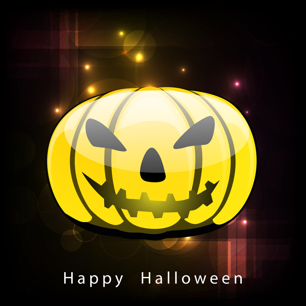 Banner Or Background For Halloween Party Night With Scary Pumpkin.