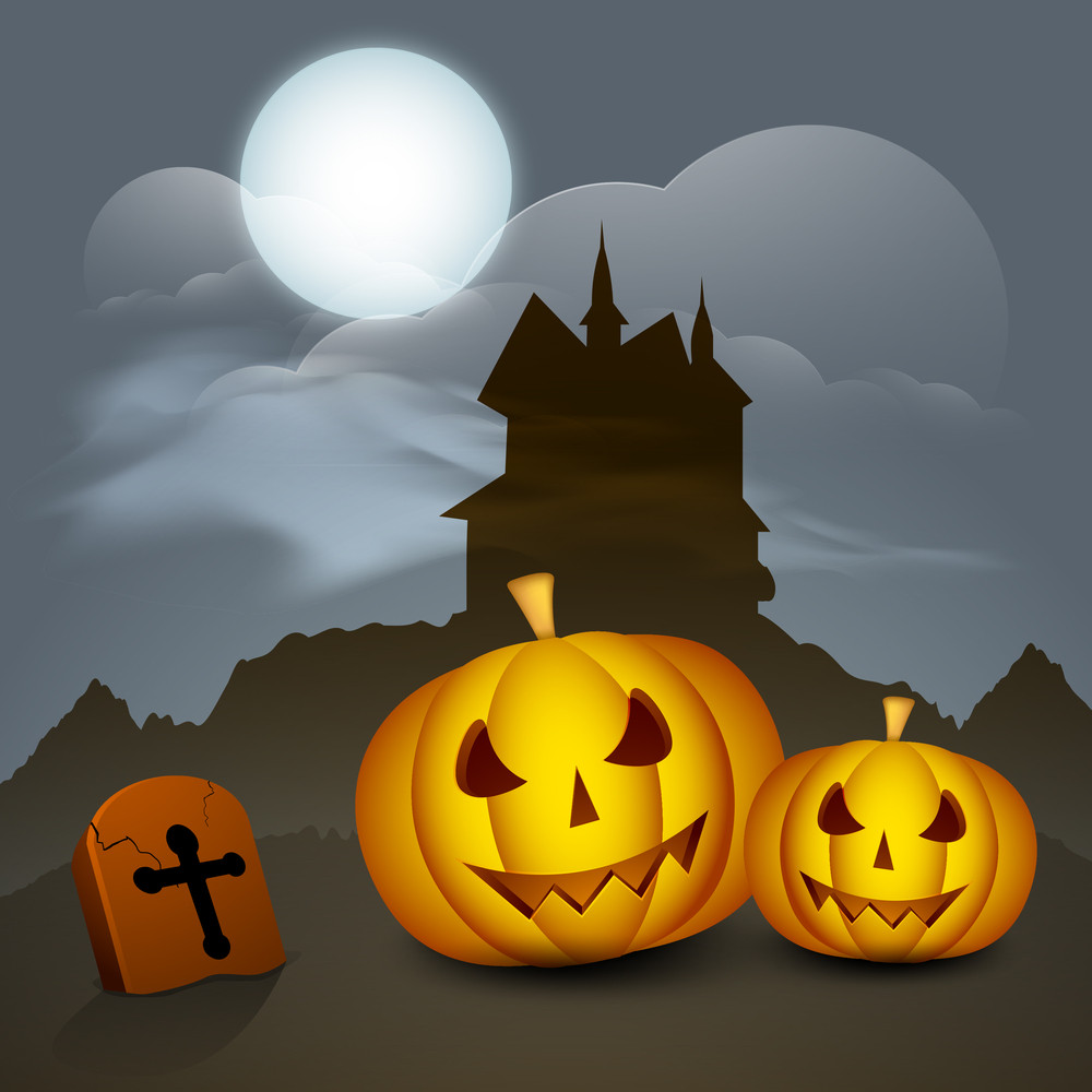 Banner Or Background For Halloween Party Night With Scary Pumpkin