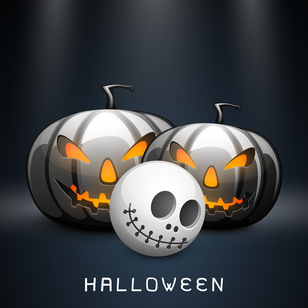 Banner Or Background For Halloween Party Night With Scary Pumpkins And Human Skull On Blue.