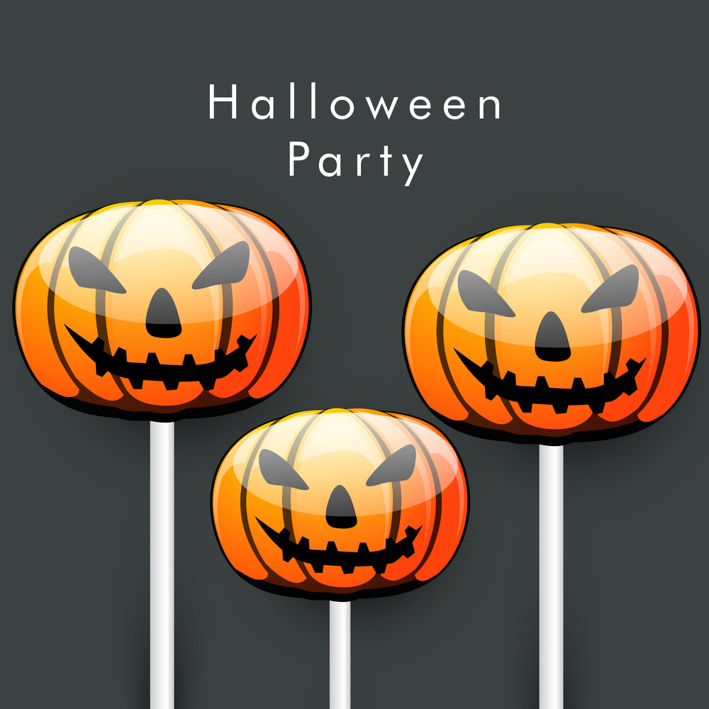 Banner Or Background For Halloween Party Night With Scary Pumpkins On Grey Background.
