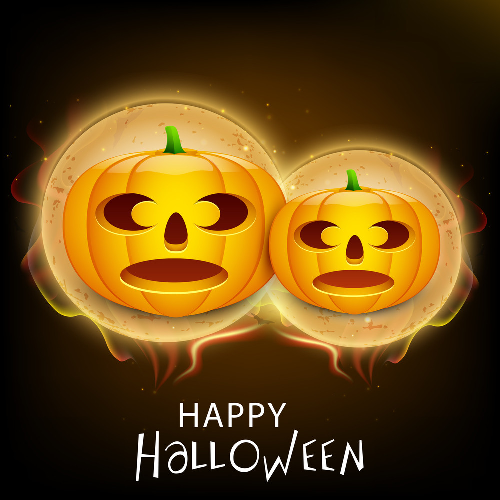 Banner Or Background For Halloween Party Night With Scary Pumpkins On Shiny Brown Background.