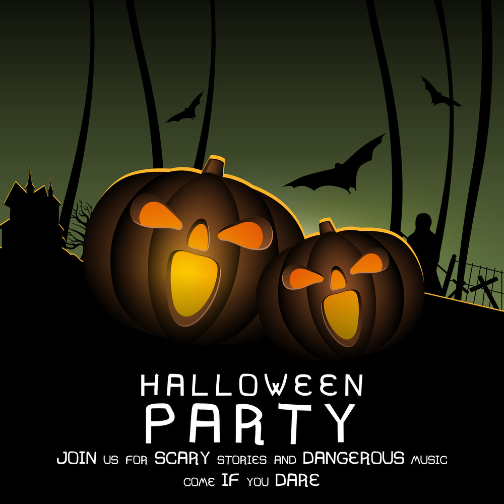 Banner Or Background For Halloween Party Night With Scary Pumpkins ...