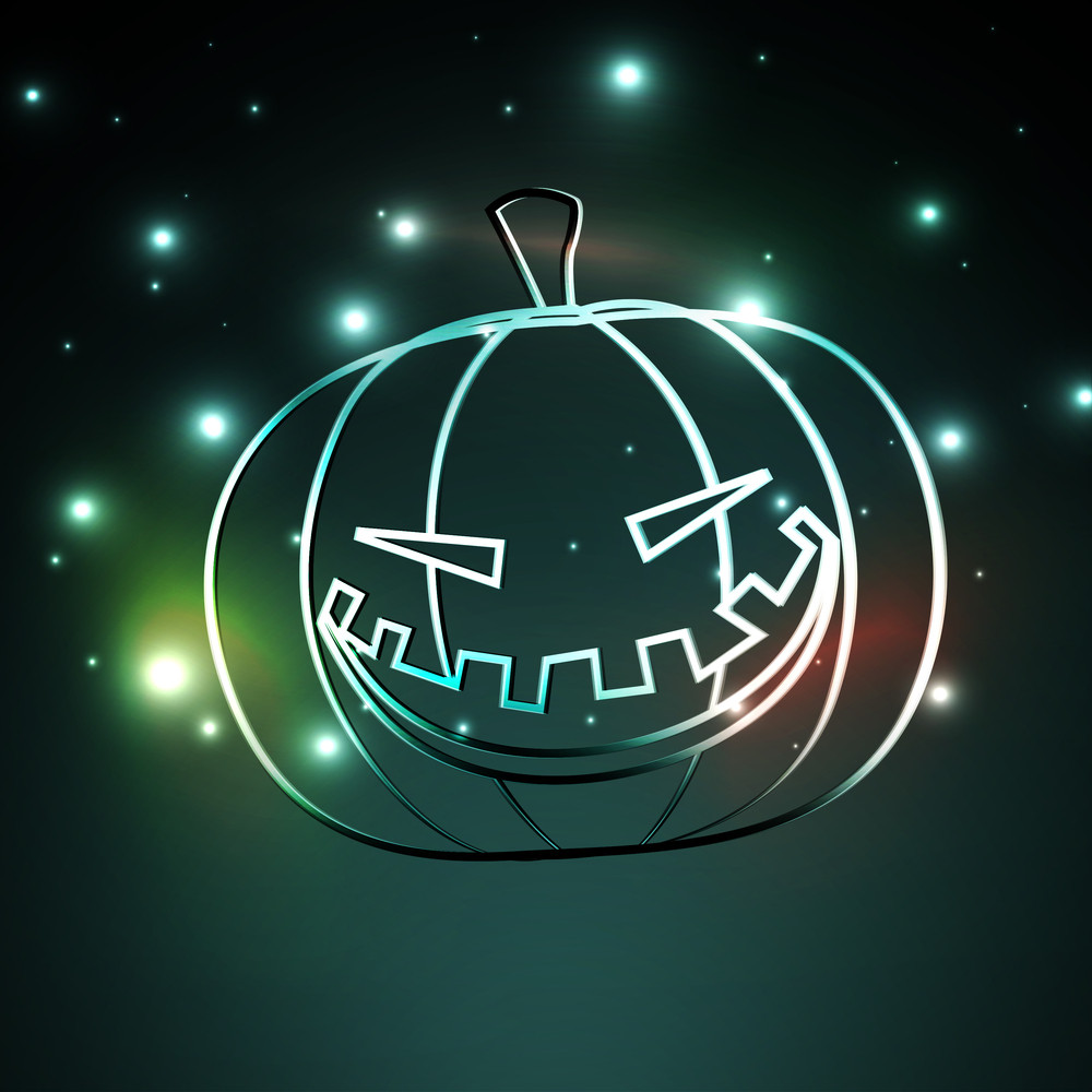 Banner Or Background For Halloween Party Night With Shiny Pumpkin On Green Background.