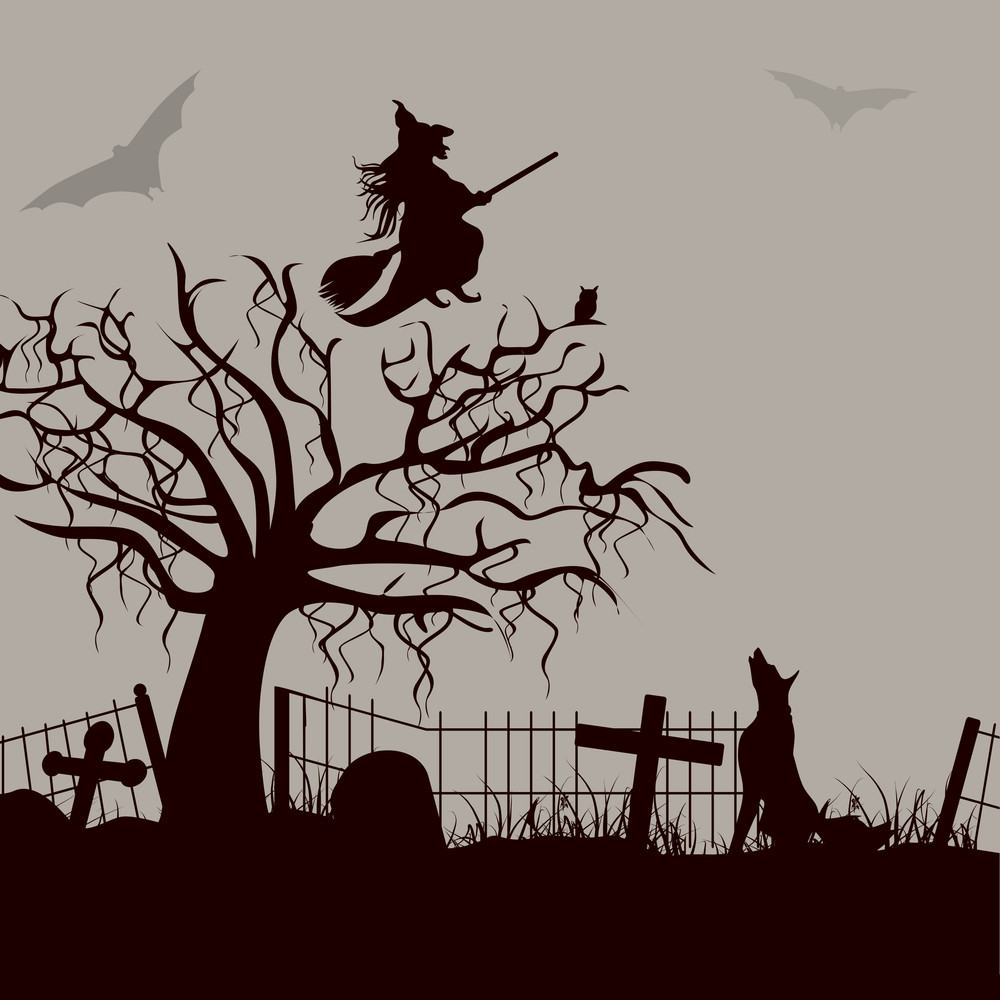 Banner Or Background For Halloween Party Night With Silhouette Of A Witch Flying On A Broom Stick