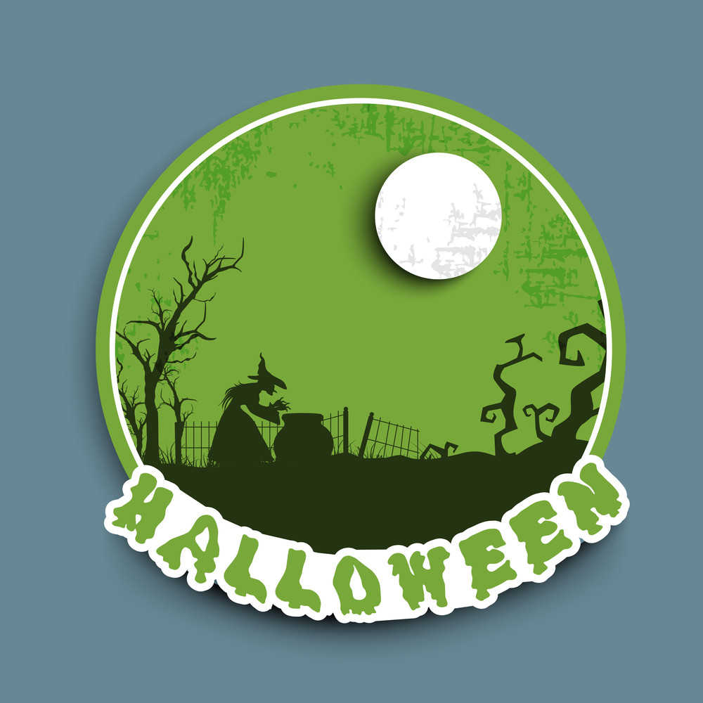 Banner Or Background For Halloween Party Night With Silhouette Of A Witch On Night Background.