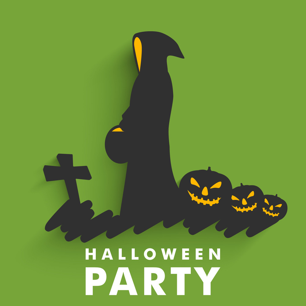 Banner Or Background For Halloween Party Night With Silhouette Of A Witch